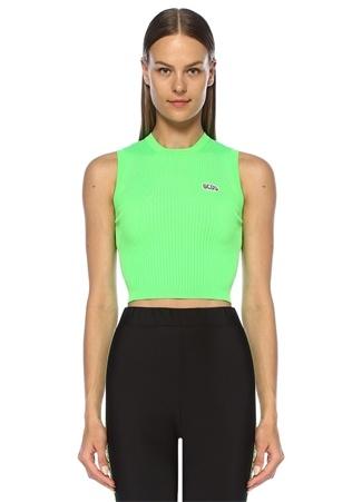Gcds Kadın Neon Yeşil Logo Patch Detaylı Kolsuz Triko M EU