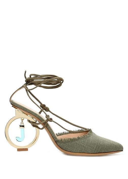Yeşil Bağcıklı Topuk Detaylı Kanvas Ayakkabı