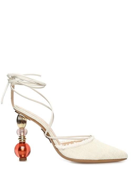 Bej Püsküllü Kanvas Topuklu Ayakkabı