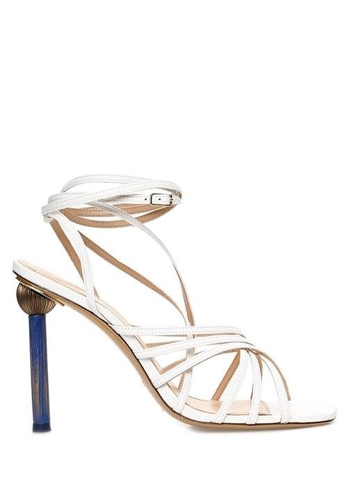 Pisa Beyaz Topuk Detaylı Kadın Deri Sandalet