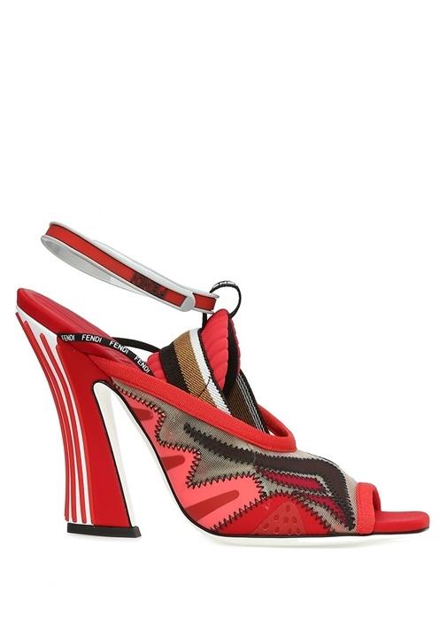 Kırmızı Logolu Garni Detaylı Kadın Sandalet