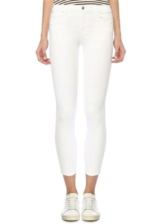 Kadın Capri Beyaz Normal Bel Crop Jean Pantolon 27 US
