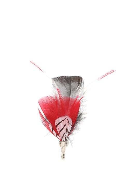 Newton Kırmızı Kuş Tüyü Formlu Yaka İğnesi