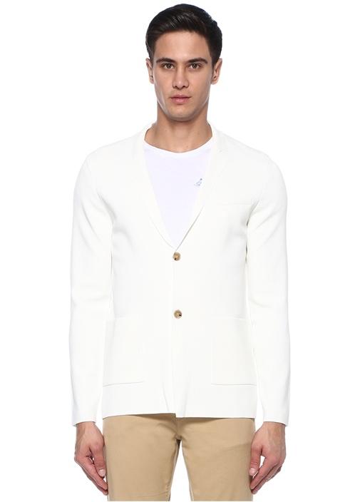 Beyaz Kelebek Yaka Ceket