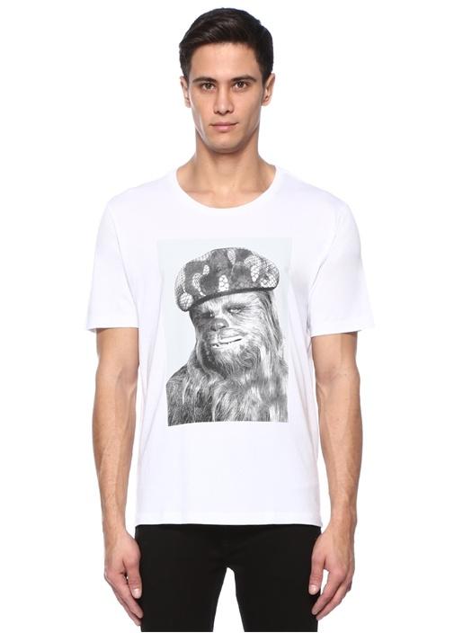 Chewbacca Beyaz Bisiklet Yaka Baskılı T-shirt