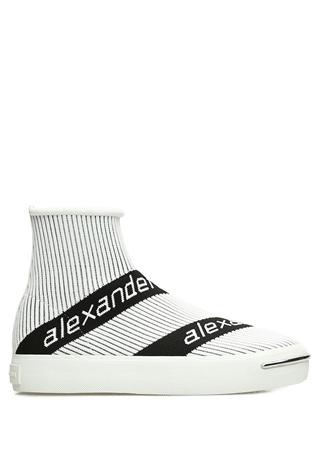 Pia Beyaz Ribli Logolu Çorap Formlu Kadın Sneaker