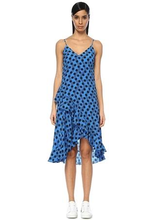 Kenzo Kadın Mavi V Yaka Puantiyeli Volanlı Midi İpek Elbise 34 FR