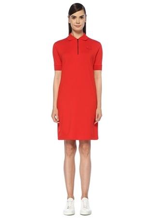 a0e48834e12c4 Kenzo Kadın Kırmızı Polo Yaka Fermuarlı Kısa Kol Mini Elbise L EU