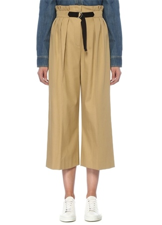 Bej Yüksek Bel Kemerli Pileli Culotte Pantolon
