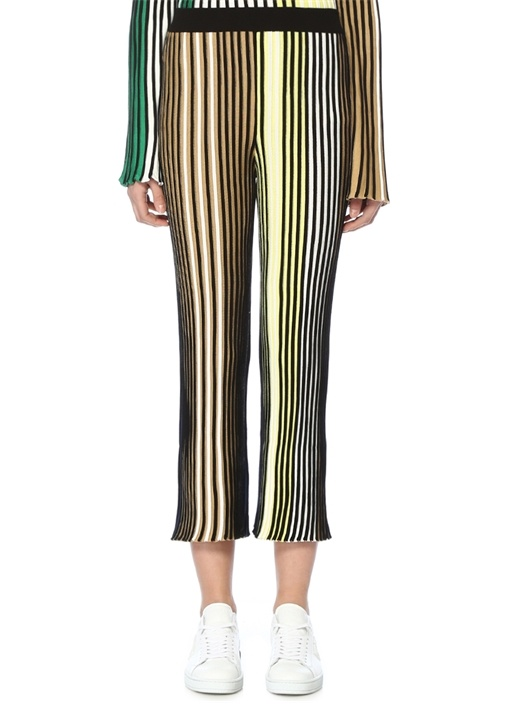 Yüksek Bel Colorblock Pileli Triko Pantolon