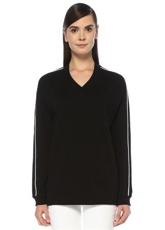 4f1b1f916641b Siyah V Yaka Kolu Şeritli Düşük Kol Sweatshirt