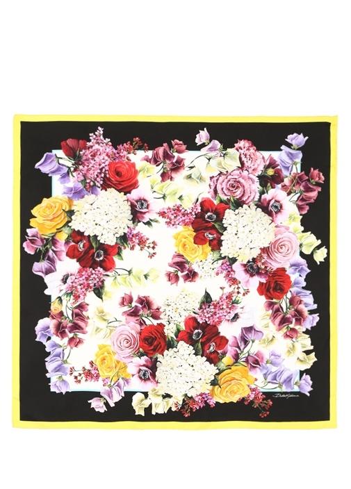 Siyah Çiçek Baskılı 90x90 cm Kadın İpekEşarp