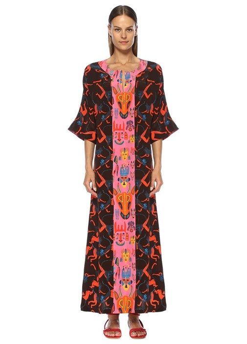 Carnaval Patricia Siyah Maksi İpek Kaftan Elbise
