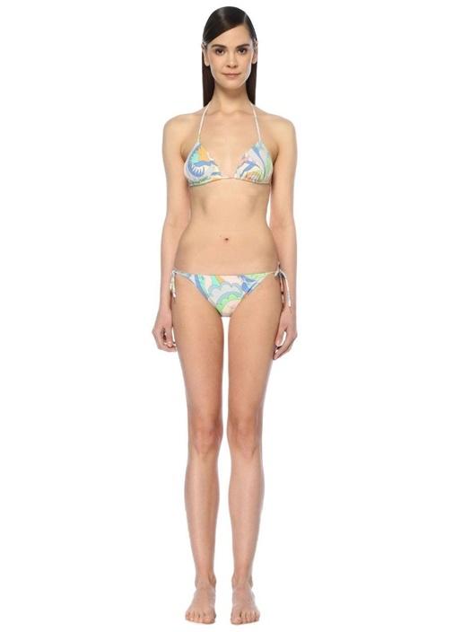 Renkli Desenli Üçgen Bikini Takımı