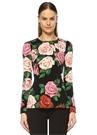 Roseto Siyah Çiçekli Uzun Kol İpek Bluz