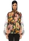 Siyah Yakası Bağlı Çiçekli Transparan İpek Gömlek