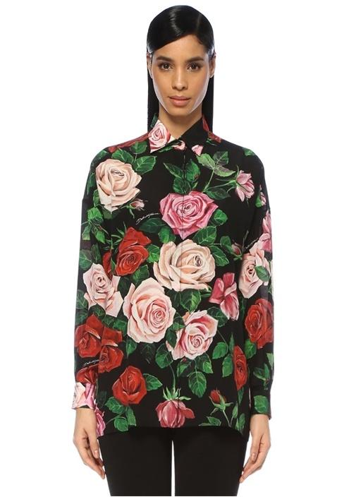 Siyah İngiliz Yaka Gül Desenli İpek Gömlek