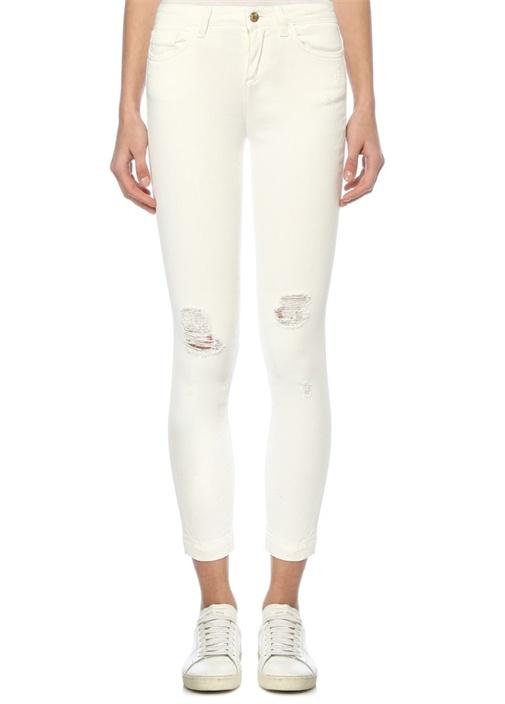 Pretty Fit Beyaz Yıpratmalı Skinny JeanPantolon