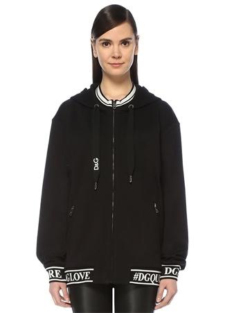 Dolce&Gabbana Kadın Siyah Kapüşonlu Logo Şeritli Fermuarlı Sweatshirt 48 IT