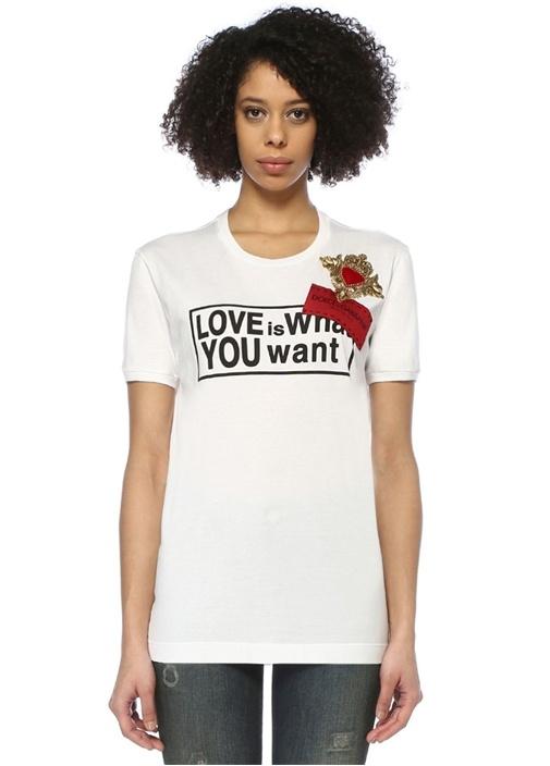 DGLeo Beyaz Logo İşlemeli Oversize T-shirt