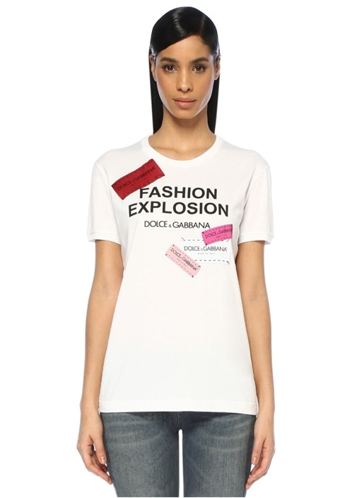 Beyaz Logo Patchli Oversize T-shirt