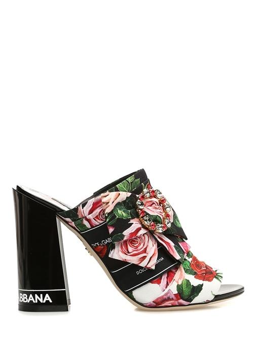 Siyah Çiçek Desenli Taşlı Topuklu Ayakkabı