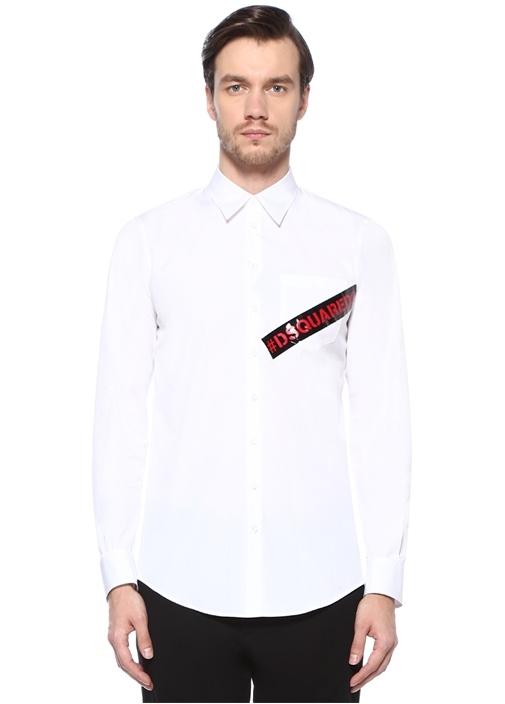 Beyaz İngiliz Yaka Logolu Cepli Gömlek