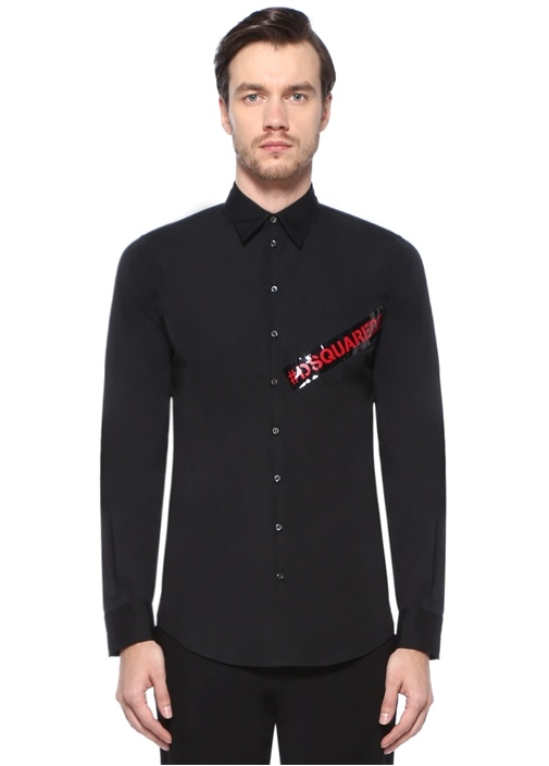 Siyah İngiliz Yaka Logolu Cepli Gömlek