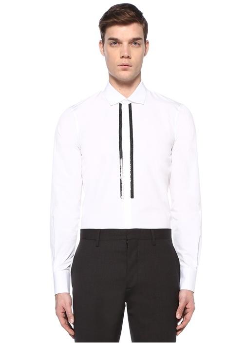 Beyaz İngiliz Yaka Şerit Pulpayetli Gömlek