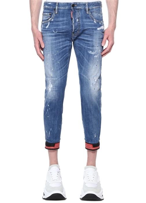 Mavi Yıpratmalı Paça Detaylı Jean Pantolon