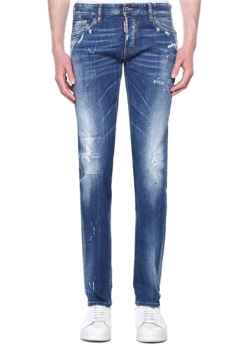 Slim Fit Mavi Fırça Darbeli Jean Pantolon