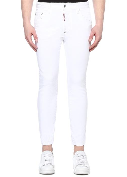 Skater Beyaz Normal Bel Jean Pantolon