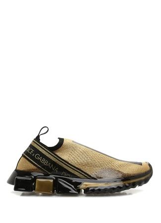 Dolce&Gabbana Kadın Sorrento Gold Siyah Logolu Sneaker Altın Rengi 36.5 EU