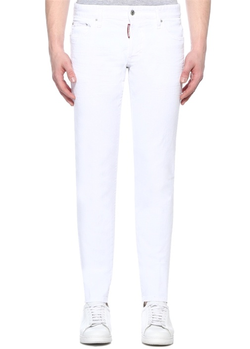 Slim Fit Beyaz Normal Bel Jean Pantolon