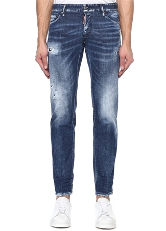 Dsquared2 Erkek Slim Lacivert Yıpratmalı Fırça Darbeli Jean Mavi 50 I (IALY) Ürün Resmi
