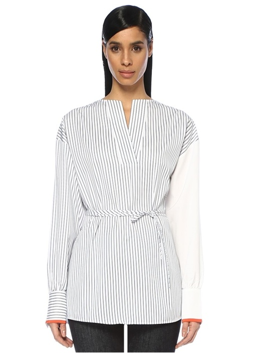 Lacivert Beyaz V Yaka Çizgili Oversize Gömlek