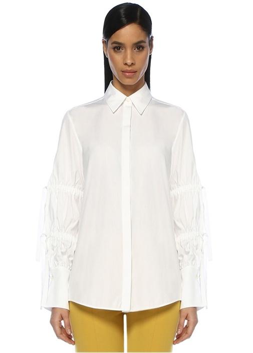 Vıctorıa By Vıctorıa Beckham Beyaz Kolları Büzgü Detaylı Klasik Gömlek – 1249.0 TL