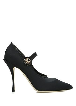 Siyah Taşlı Broşlu Çorap Formlu TopukluAyakkabı
