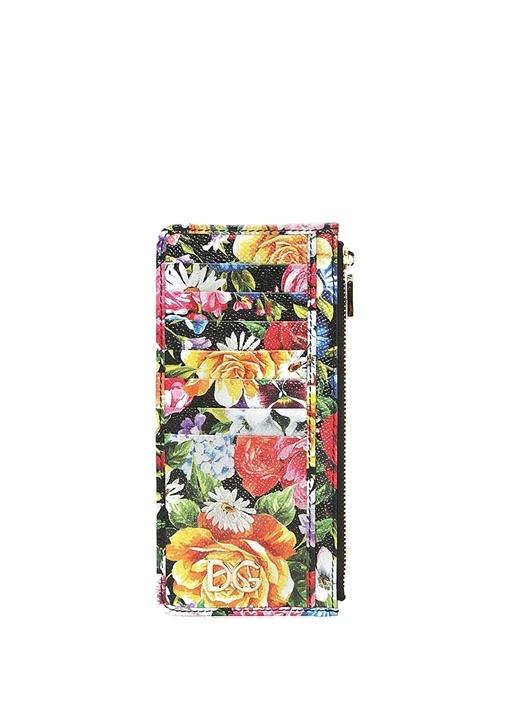 Çiçek Desenli Kadın Deri Cüzdan