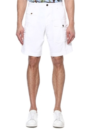 Beyaz Normal Bel Kargo Bermuda