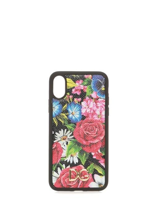 Çiçek Baskılı Logolu Deri iPhone X XS Telefon Kılı