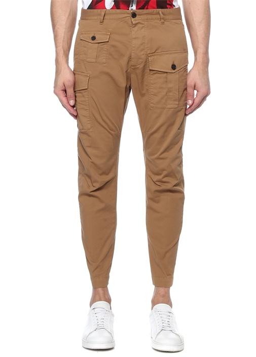 Cargo Fit Bej Yüksek Bel Pantolon
