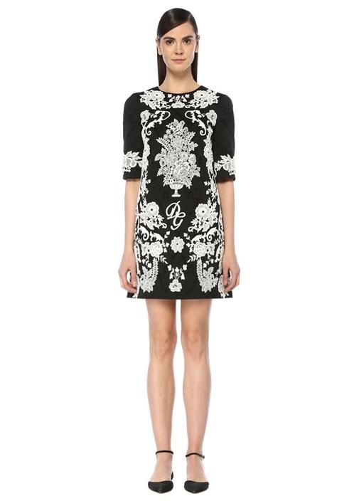 f7c0eb3550b15 Dolce&Gabbana Siyah KADIN Siyah Beyaz Dantel Nakışlı Yarım Kol Mini ...