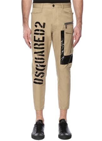 Dsquared2 Erkek Bej Yüksek Bel Logo Baskılı Dar Paça Pantolon 48 I (IALY) Ürün Resmi