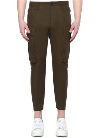 Erkek Yeşil Yüksek Bel Dar Paça Kargo Pantolon 52 IT