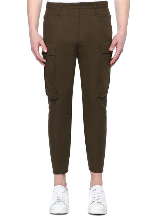 Yeşil Yüksek Bel Dar Paça Kargo Pantolon