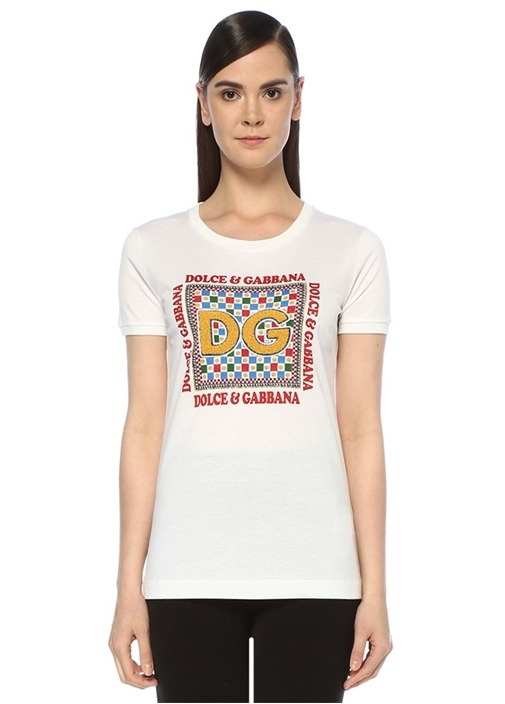 Beyaz Bisiklet Yaka Logo İşlemeli T-shirt