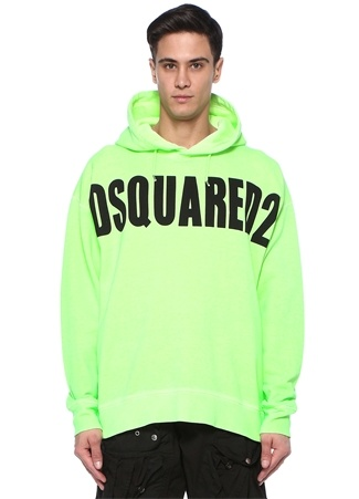 Neon Yeşil Kapüşonlu Logo Baskılı Sweatshirt