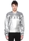 Silver Baskılı Parlak Dokulu Sweatshirt