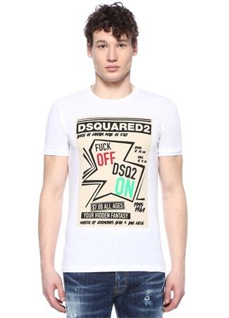 Beyaz Baskılı Bisiklet Yaka Basic T-shirt